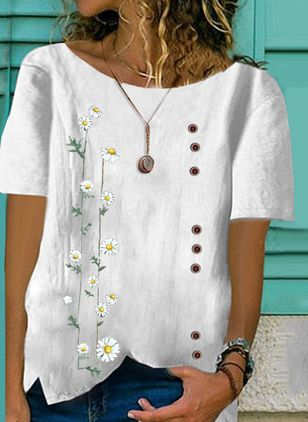 Floral Casual Round Neckline Short Sleeve Blouses (146939010)
