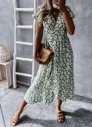 Casual Floral Wrap V-Neckline X-line Dress (147500743)