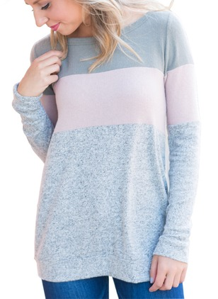 Cotton Color Block Round Neck Long Sleeve T-shirts