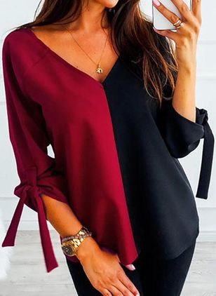 Color Block Casual V-Neckline 3/4 Sleeves Blouses (1495841)