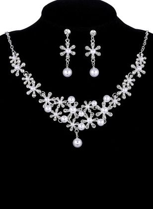 Floral Ball Round Pearls Necklace Earring Jewelry Sets