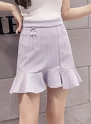 Cotton Solid Above Knee Casual Pink Purple Skirts