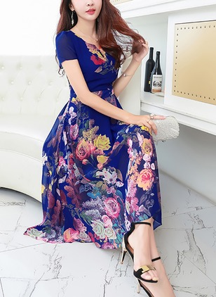 Floral V-Neckline Short Sleeve Midi A-line Dress