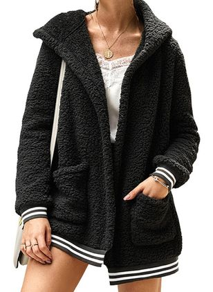 Long Sleeve Hooded Pockets Fur Coats (104701961)