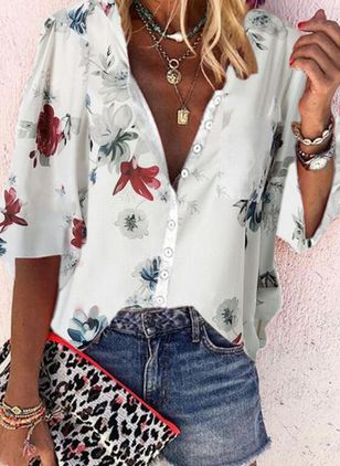Plus Size Floral V-Neckline Casual Shift Blouses Half Sleeve Plus Blouses (4046750)