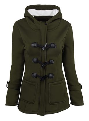 Long Sleeve Hooded Buttons Pockets Padded Coats
