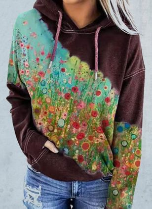 Floral Casual Hooded Pockets Sweatshirts (146876636)
