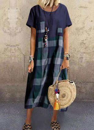 Casual Plaid Tunic Round Neckline Shift Dress (4073896)