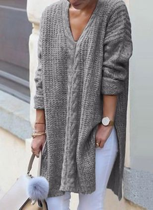 V-Neckline Solid Loose Long Sweaters