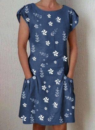 Casual Floral Tunic Round Neckline Shift Dress (146980325)