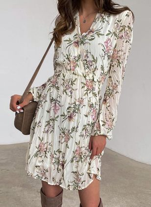 Casual Floral Skater V-Neckline X-line Dress (107804671)