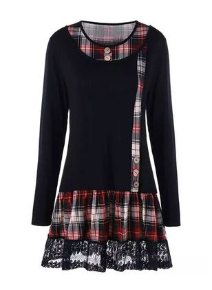 Casual Plaid Tunic Round Neckline Shift Dress (1435144)