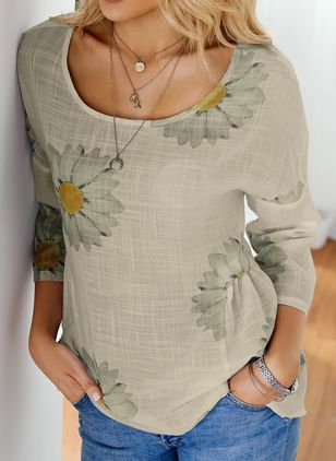 Floral Casual Round Neckline 3/4 Sleeves Blouses (1542571)