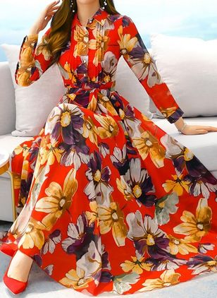 Elegant Floral Collar Maxi X-line Dress (106822437)
