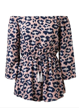 Polyester Leopard Long Sleeve Jumpsuits & Rompers