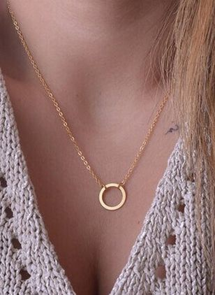 Casual Round No Stone Pendant Necklaces (4541228)