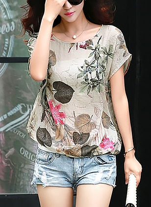 Polyester Floral Round Neck Short Sleeve Casual T-shirts