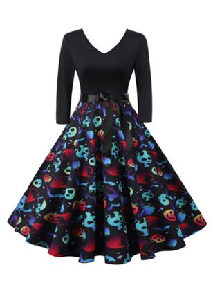Halloween Color Block V-Neckline Midi X-line Dress (111607826)
