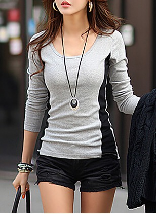 Cotton Color Block Round Neck Long Sleeve Casual T-shirts