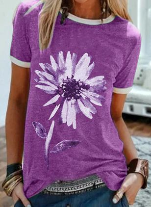 Floral Round Neck Short Sleeve Casual T-shirts (4046887)