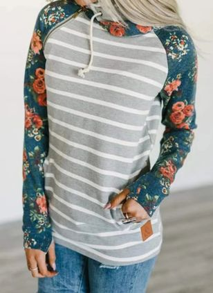 Floral Collar Long Sleeve Casual T-shirts (109556646)