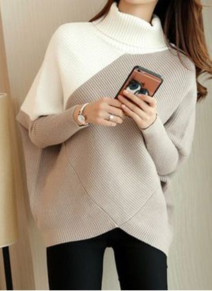 High Neckline Color Block Casual Loose Long Shift Sweaters (122029761)