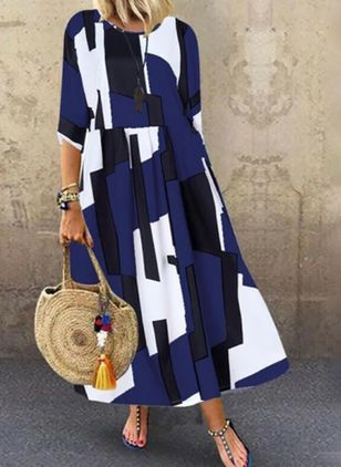 Plus Size Tunic Color Block Round Neckline Casual Maxi Plus Dress