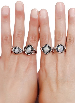 Geometric Round Gemstone Rings 4pcs