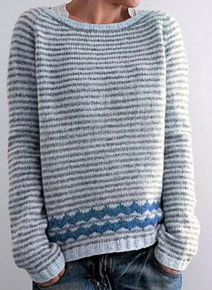 Round Neckline Stripe Casual Loose Regular Shift Sweaters (111109833)