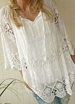 Solid Casual 3/4 Sleeves Blouses