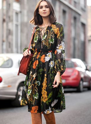 Floral Hollow Out Long Sleeve Knee-Length A-line Dress
