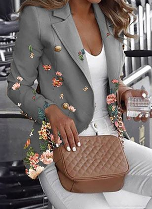 Long Sleeve Lapel Buttons Blazers Coats (146980835)