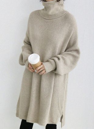 Solid Long Sleeve Knee-Length Shift Dress