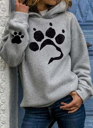 Hooded Animal Casual Loose Regular Shift Sweaters (106153762)