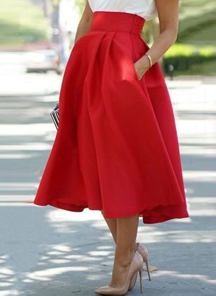 Solid Mid-Calf Elegant Skirts