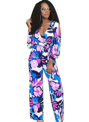 Polyester Floral Long Sleeve Jumpsuits & Rompers