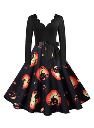 Halloween Color Block V-Neckline Midi X-line Dress (111607811)