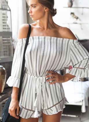 Linen Stripe 3/4 Sleeves Casual Jumpsuits & Rompers