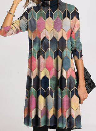 Casual Geometric Tunic Draped Neckline Shift Dress (111798426)