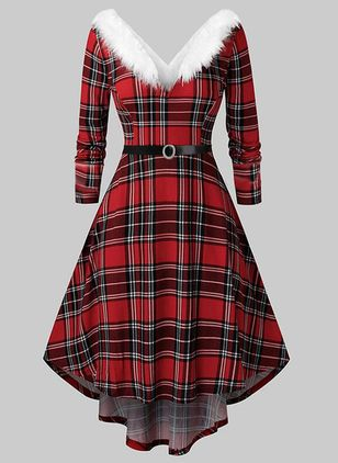 Elegant Plaid V-Neckline Midi X-line Dress (146712688)