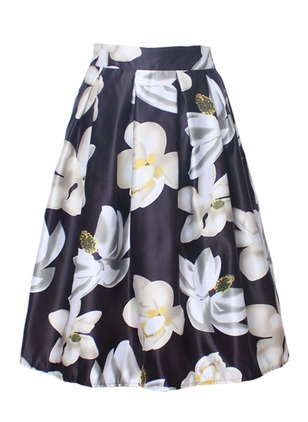 Polyester Floral Knee-Length Casual None Skirts
