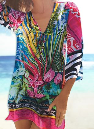 Polyester Floral Cover-Ups Swimwear (4037828)