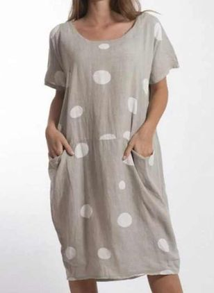 Tunic Polka Dot Round Neckline Casual Pockets Plus Dress (4049196)
