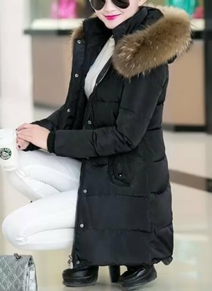Long Sleeve Hooded Buttons Zipper Pockets Removable Fur Collar Down Coats