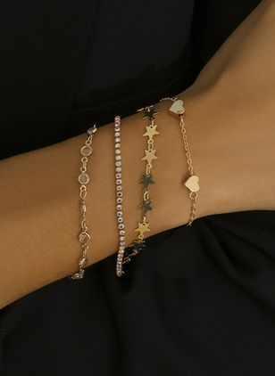 Casual Star Heart Round Crystal Link Bracelets (4126972)