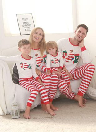Family Look Stripe Christmas Long Sleeve Family Outfits (119992939)