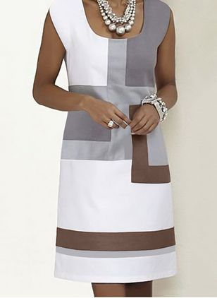 Casual Color Block Tunic Square Neckline Shift Dress (1326366)