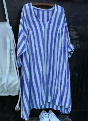 Casual Stripe Tunic V-Neckline Shift Dress (4209931)