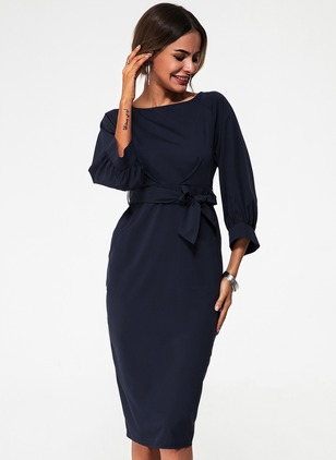 Elegant Solid Round Neckline Midi Sheath Dress (1096910)