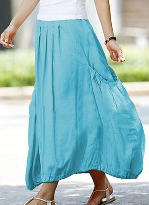 Solid Maxi Casual Lommer Nederdele (5121512)